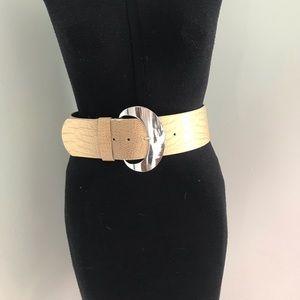 Beige Faux Snakeskin Leather Belt w/ Silver Buckle